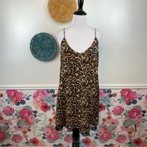 Forever 21 Leopard Print Classic Simple Slip Dress Size Small